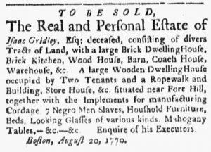 Oct 15 1770 - Boston Evening-Post Slavery 1