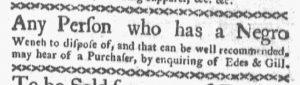 Oct 15 1770 - Boston-Gazette Slavery 1