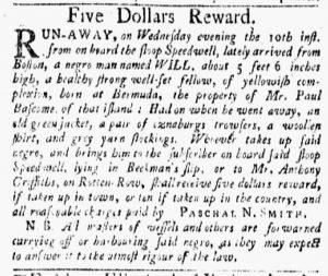 Oct 15 1770 - New-York Gazette and Weekly Mercury Slavery 2