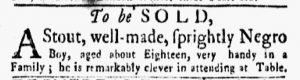 Oct 15 1770 - New-York Gazette and Weekly Mercury Slavery 5