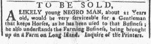 Oct 15 1770 - New-York Gazette or Weekly Post-Boy Slavery 1