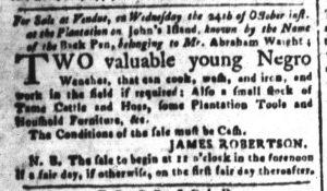 Oct 15 1770 - South-Carolina and American General Gazette Slavery 2