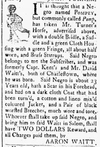 Oct 16 1770 - Essex Gazette Slavery 1