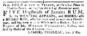 Oct 16 1770 - South-Carolina Gazette and Country Journal Slavery 1