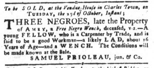 Oct 16 1770 - South-Carolina Gazette and Country Journal Slavery 10