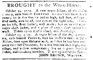 Oct 16 1770 - South-Carolina Gazette and Country Journal Slavery 2