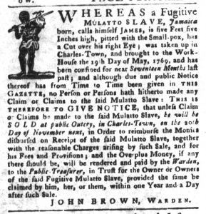 Oct 16 1770 - South-Carolina Gazette and Country Journal Slavery 8