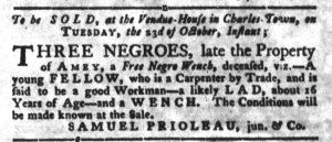 Oct 2 1770 - South-Carolina Gazette and Country Journal Slavery 2