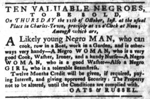 Oct 2 1770 - South-Carolina Gazette and Country Journal Slavery 3