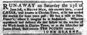 Oct 2 1770 - South-Carolina Gazette and Country Journal Slavery 5