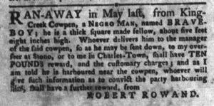 Oct 2 1770 - South-Carolina Gazette and Country Journal Slavery 8