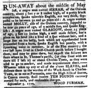 Oct 2 1770 - South-Carolina Gazette and Country Journal Slavery 9