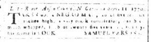 Oct 3 1770 - South-Carolina and American General Gazette Slavery 2