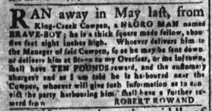 Oct 3 1770 - South-Carolina and American General Gazette Slavery 4
