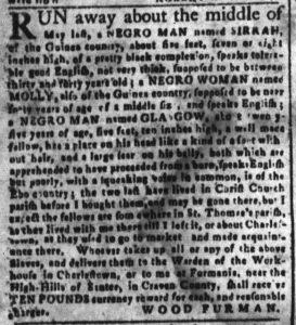 Oct 3 1770 - South-Carolina and American General Gazette Slavery 5