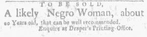 Oct 4 1770 - Massachusetts Gazette and Boston Weekly News-Letter Slavery 2