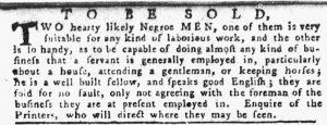Oct 4 1770 - Pennsylvania Gazette Slavery 1