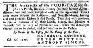 Oct 4 1770 - South-Carolina Gazette Slavery 1