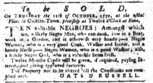 Oct 4 1770 - South-Carolina Gazette Slavery 2