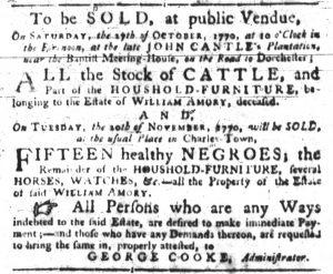 Oct 4 1770 - South-Carolina Gazette Slavery 3