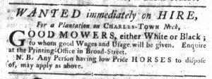 Oct 4 1770 - South-Carolina Gazette Slavery 6