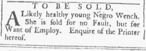 Oct 6 1770 - Providence Gazette Slavery 1