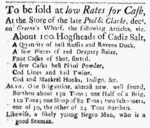 Oct 8 1770 - Boston Evening-Post Slavery 1