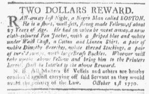 Oct 8 1770 - Boston-Gazette Slavery 1