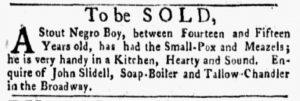 Oct 8 1770 - New-York Gazette and Weekly Mercury Slavery 1