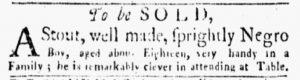 Oct 8 1770 - New-York Gazette and Weekly Mercury Slavery 2