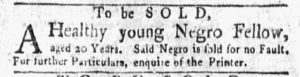 Oct 8 1770 - New-York Gazette and Weekly Mercury Supplement Slavery 3