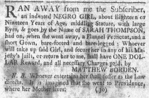 Oct 8 1770 - Newport Mercury Slavery 1