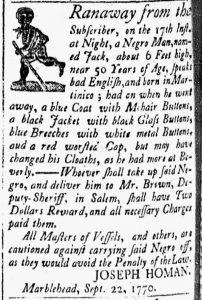 Oct 9 1770 - Essex Gazette Slavery 1