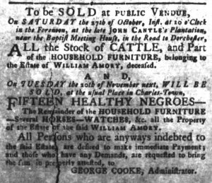 Oct 9 1770 - South-Carolina Gazette and Country Journal Slavery 1