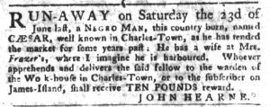 Oct 9 1770 - South-Carolina Gazette and Country Journal Slavery 11