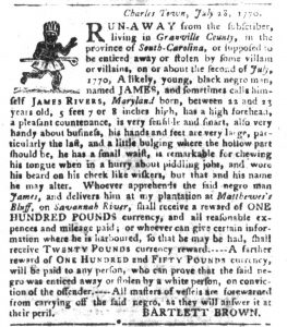 Oct 9 1770 - South-Carolina Gazette and Country Journal Slavery 12
