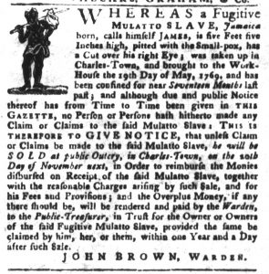 Oct 9 1770 - South-Carolina Gazette and Country Journal Slavery 3