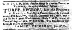 Oct 9 1770 - South-Carolina Gazette and Country Journal Slavery 6