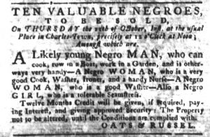 Oct 9 1770 - South-Carolina Gazette and Country Journal Slavery 7