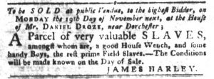 Oct 9 1770 - South-Carolina Gazette and Country Journal Slavery 9