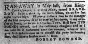 Oct 9 1770 - South-Carolina Gazette and Country Journal Supplement Slavery 5
