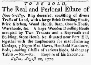 Sep 10 1770 - Boston Evening-Post Slavery 1