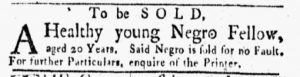 Sep 10 1770 - New-York Gazette and Weekly Mercury Slavery 3