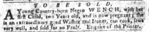 Sep 11 1770 - South-Carolina Gazette and Country Journal Slavery 8