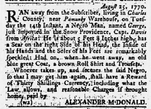 Sep 13 1770 - Maryland Gazette Slavery 1
