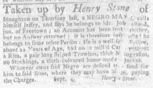 Sep 13 1770 - Massachusets Gazette and Boston Weekly News-Letter Slavery 2