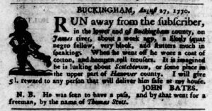Sep 13 1770 - Virginia Gazette Purdie & Dixon Slavery 8
