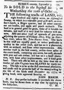 Sep 13 1770 - Virginia Gazette Rind Slavery 1