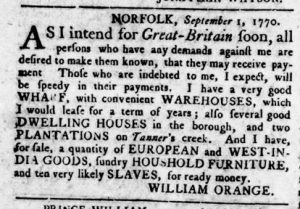 Sep 13 1770 - Virginia Gazette Rind Slavery 5