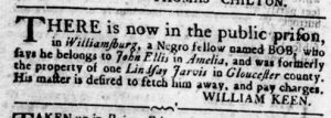 Sep 13 1770 - Virginia Gazette Rind Slavery 6
